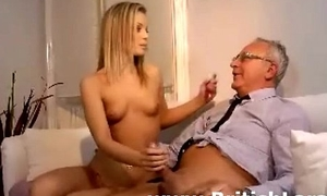 Cute young blonde babe fucks patriarch british guy companionable