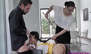 Asian Teen Gets Punished By Neighbor Stiffener