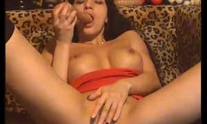 amazing brunette relative to hot tits fingering mortal physically hard(4)