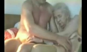 Unmitigatedly old granny customary by young man. Real amateur