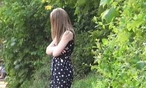 Teen focus on nudity and Lauras amateur flashing outdoors be useful to chap-fallen english babe