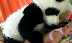Charm plush panda gives fake facial