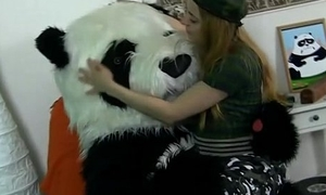Charm teen getting wanting with toy panda