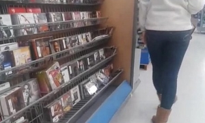 College Girl on touching Tight Jeans CD Shopping