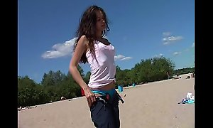 Slim teen with perky boobs naked convenient a nudist careen
