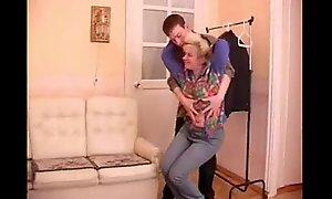 full-grown granny seduces teenage chum