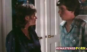 Curious retro teen spies on horny couple skim through a beaker