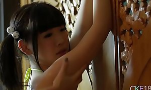 Shy Japanese teen Uri's body touched and massaged apropos plugola