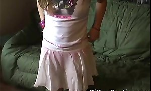 Vest-pocket legal age teenager kitty down a cute little pink petticoat