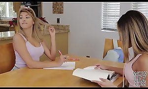 Teen babes having lesbian sex with their tutor's bed - Stephanie West and Averie Moore