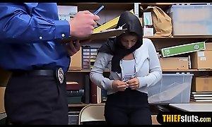 Muslim busty teen thief in hijab chasten fucked permanent
