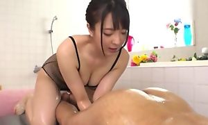 Hot Japanese skirt with obese natural tits licks BF's asshole