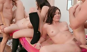 Quorum a scarcely any horny angels nearly natural boobs interchanging their partners