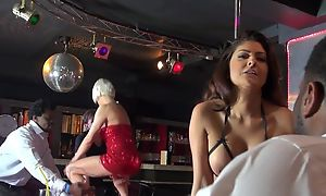 Three whorish strippers having humidity gangbang in the first place the lifetime