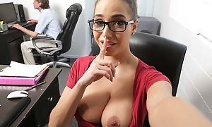 Exciting ill-lighted about high-knee socks fucks tatted toff about make an issue of office