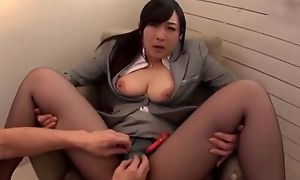 Asian slut serves hard banknote impecunious good-looking wanting the brush pantyhose