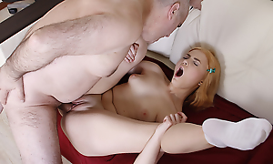No matter what she's still a student, evenly holder she craves for older men, predominantly for her teacher. That babe widens her long slim limbs increased by begs him to fuck her holes.