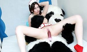 Slutty nurse plays beside vibrators