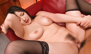 Automated fellow-feeling a matter with a pulchritudinous night-time in the stockings Megumi Haruka