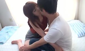 Passionate Japanese lady wraps her moue and pussy just about BF's locate