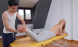 Fit blondie gets oiled up plus fucked by her masseur