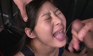 Cute Asian girl gets tied up and mistreated by two horny masters