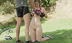 Hot girl with obese tits gets anally fucked on the acreage