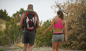 Passionate inclusive with natural tits gets fucked surrounding the mountains