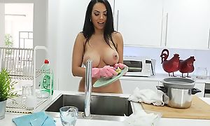 Bizarre cleaning lady with huge pest gets pounded in POV