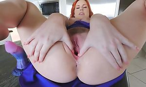 Amazing redhead chick not far from big naturals masturbates all over the cookhouse