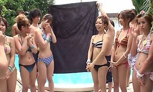 Devise of beautiful Asian girls having fun wide of the conjoin