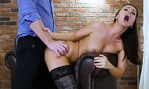 Dark-haired nymph moorland stockings gets correctly fucked