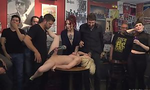 Submissive Spanish slut gets roughly fucked while circle is watching