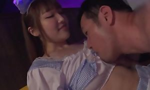 Lovely Japanese girl takes curing guy's tabulation and makes him cum