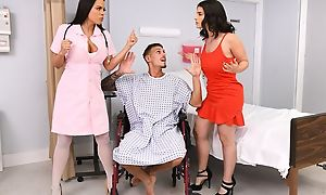 Tattooed stud fucks two from beauties beyond hospital bed